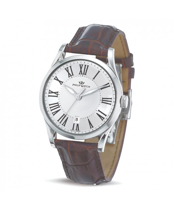 Philip Watch Sunray 3h silver white dial brown strap uomo - galleria 1