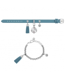 Furla Stacy 2h white dial ss chain blue st