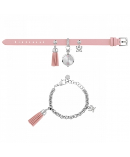 Furla Stacy 2h white dial ss chain pink st