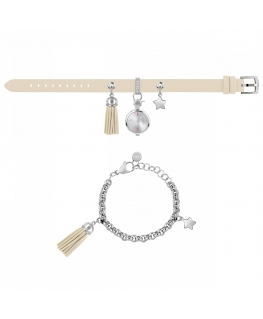 Furla Stacy 2h white dial ss chain ivory st