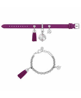 Furla Stacy 2h whit dial ss chain purple st