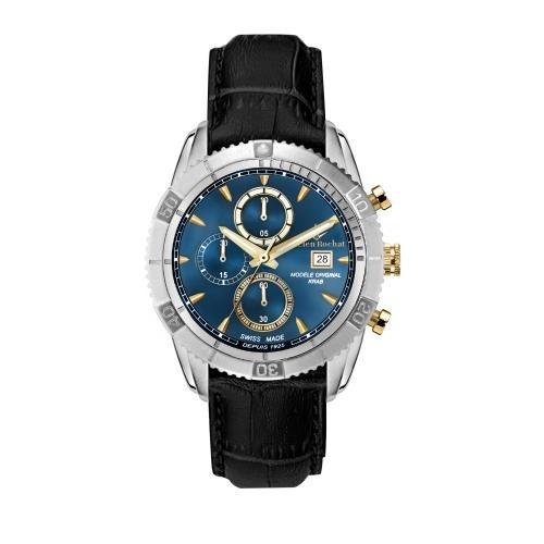 Lucien Rochat Krab 45mm chr blue dial black str