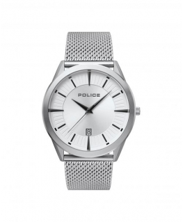 Police Patriot 3h silver dial ss mesh