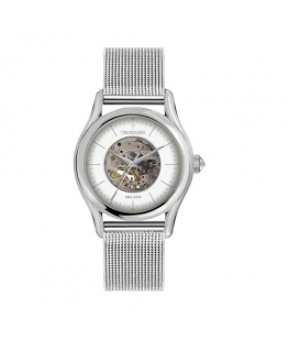 Trussardi T-light 43mm auto white dial mesh br ss