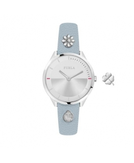 Furla Pin 31mm 2h silver dial blue st w/charms