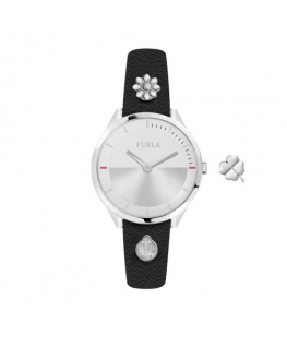 Furla Pin 31mm 2h silver dial blk st w/charms