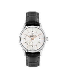 Philip Watch  a sunray auto 3h wht dial blk st rg