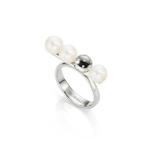 Anello Morellato Lunae donna acciaio / 3 perle