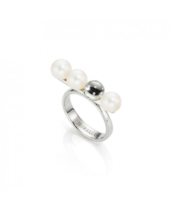 Anello Morellato Lunae donna acciaio / 3 perle - galleria 1