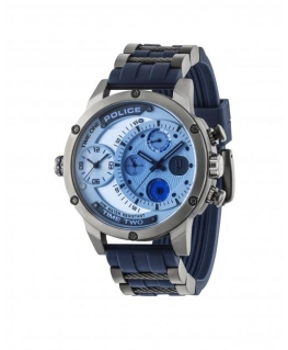 Police Adder multi silver dial blue rubber st