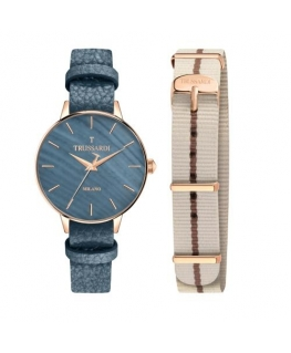 Trussardi T-evolution lady 36mm 3h mop dial blue s