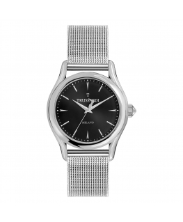 Trussardi T-light 39mm 3h black dial ss mesh