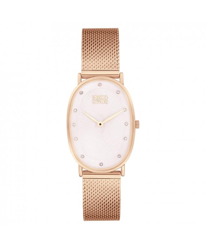Orologio Enrico Coveri donna ovale acciaio oro rosa / bianco - galleria 1