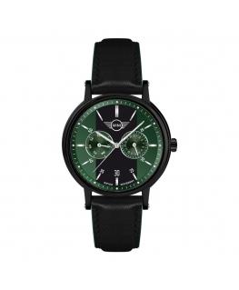 Orologio Mini uomo multifunzione pelle nero / verde