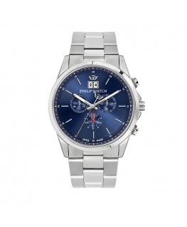 Philip Watch Capetown 44mm chr blue dial br ss