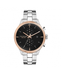 Trussardi T-complicity 45mm chr black dial br ss