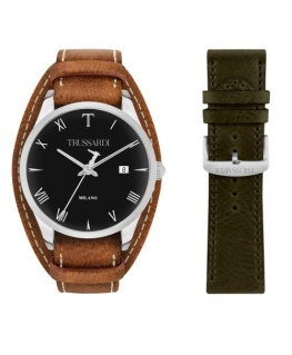 Trussardi T-genus 40mm 3h black dial brown strap