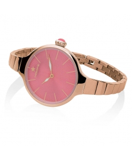 Orologio Hoops Nouveau Cherie donna acciaio oro rosa / fuxia