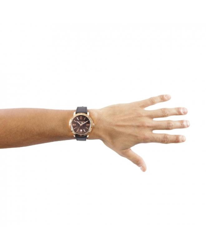 Trussardi Sinfonia 42mm 3h brown dial brown strap - galleria 3