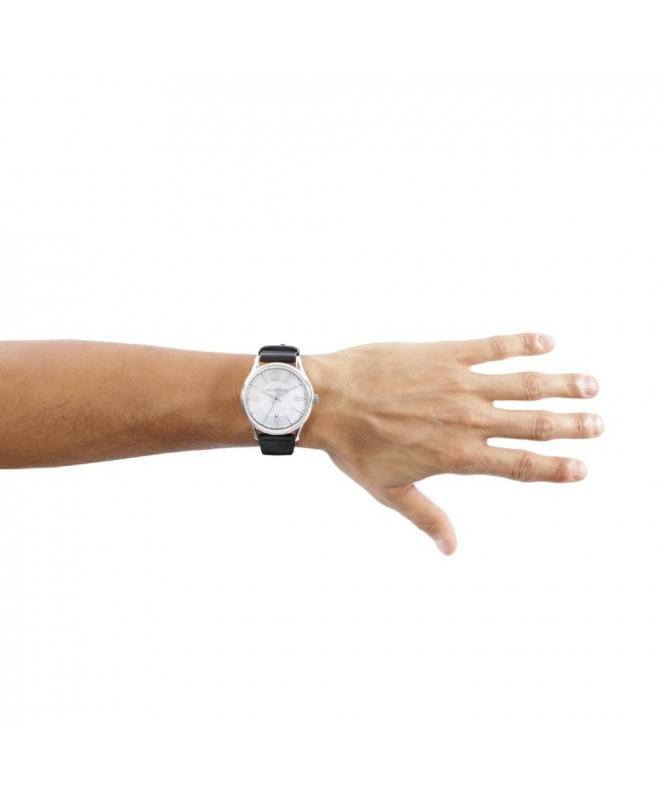 Trussardi Tfirst gent 43mm 3h silver dial blk st - galleria 3