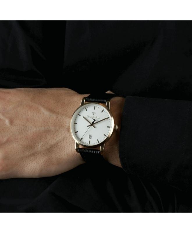 Trussardi T-genus 40mm 3h beige dial black strap - galleria 3