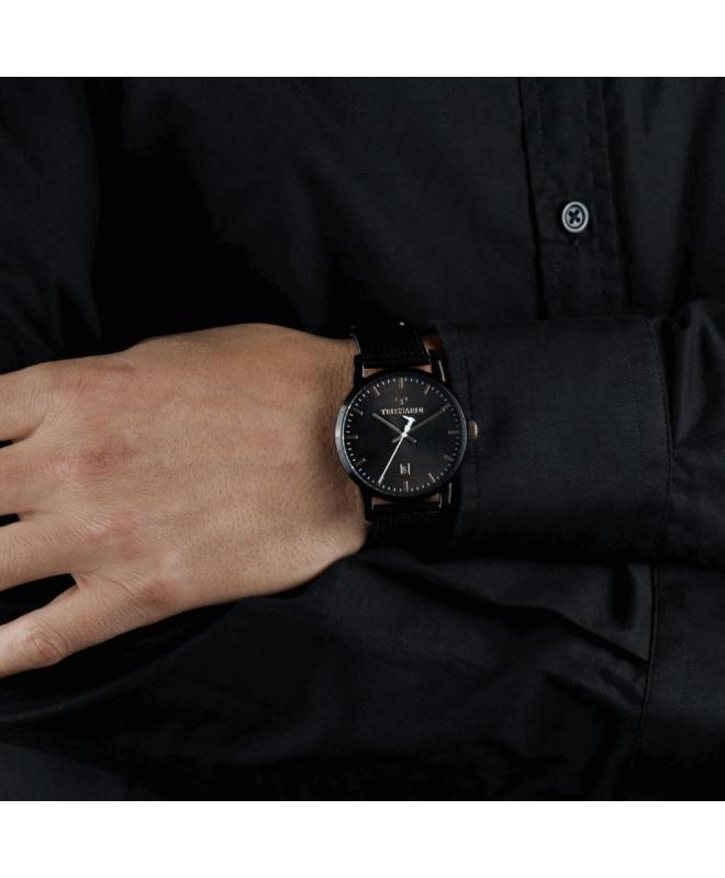 Trussardi T-genus 40mm 3h black dial mesh br black - galleria 3
