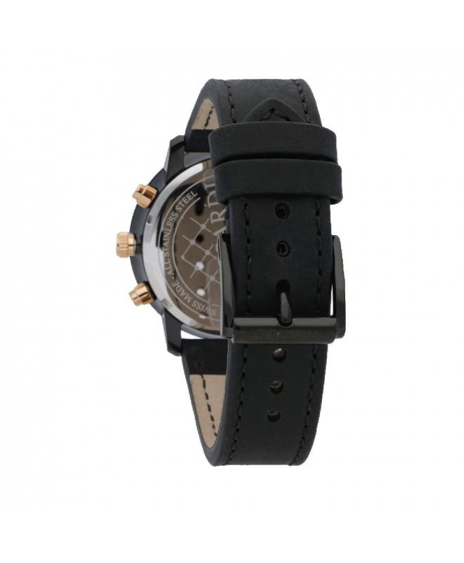 Trussardi Sinfonia 42mm chr black dial black strap - galleria 2