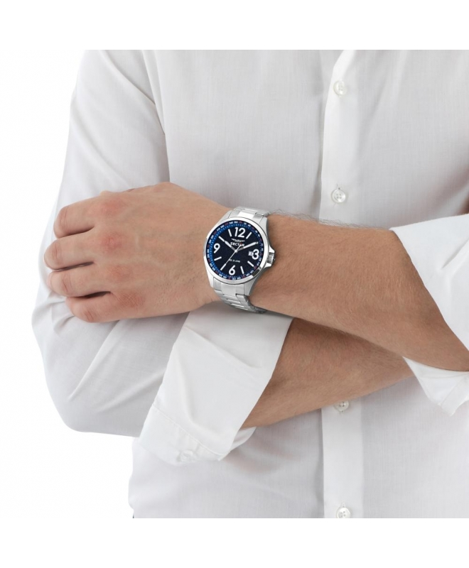 Sector 180 45mm 3h d.blue dial br ss - galleria 2