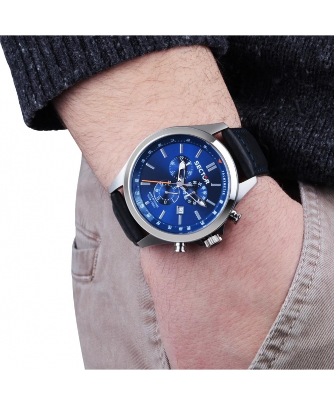 Sector 180 chr blue dial black strap - galleria 2