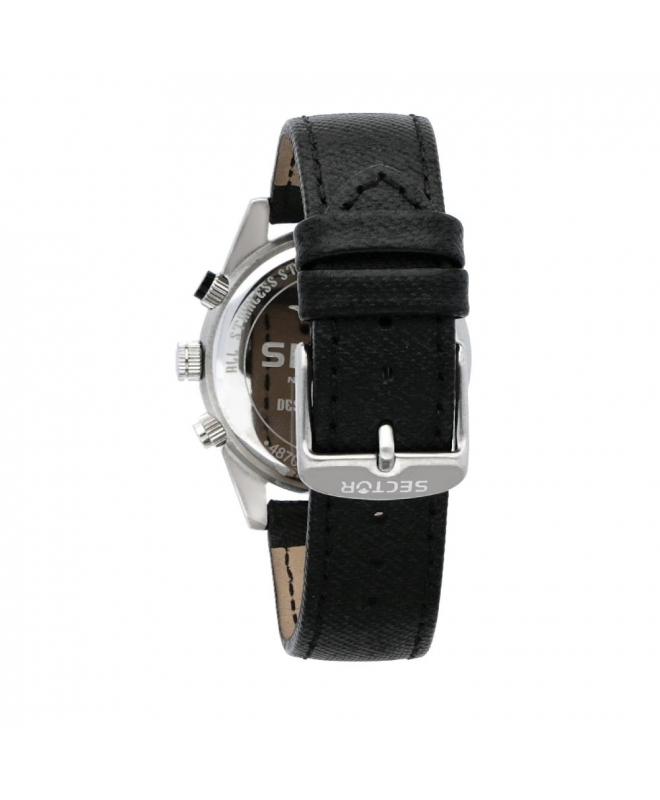 Sector 245 41mm chr white dial black strap - galleria 2