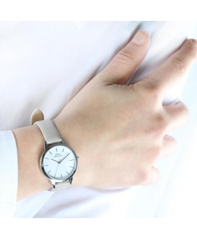 Chronostar Glamour 30mm 3h white dial beige strap - galleria 2