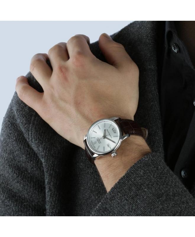 Philip Watch Kent 40mm auto silver dial brw strap ss uomo - galleria 3