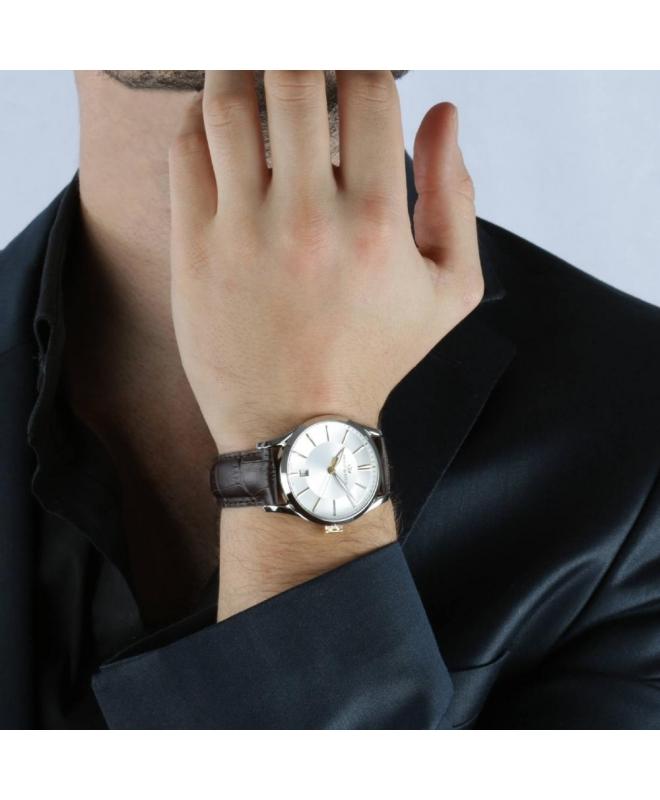 Philip Watch Sunray 39mm 3h white/s dial brown strap uomo - galleria 3
