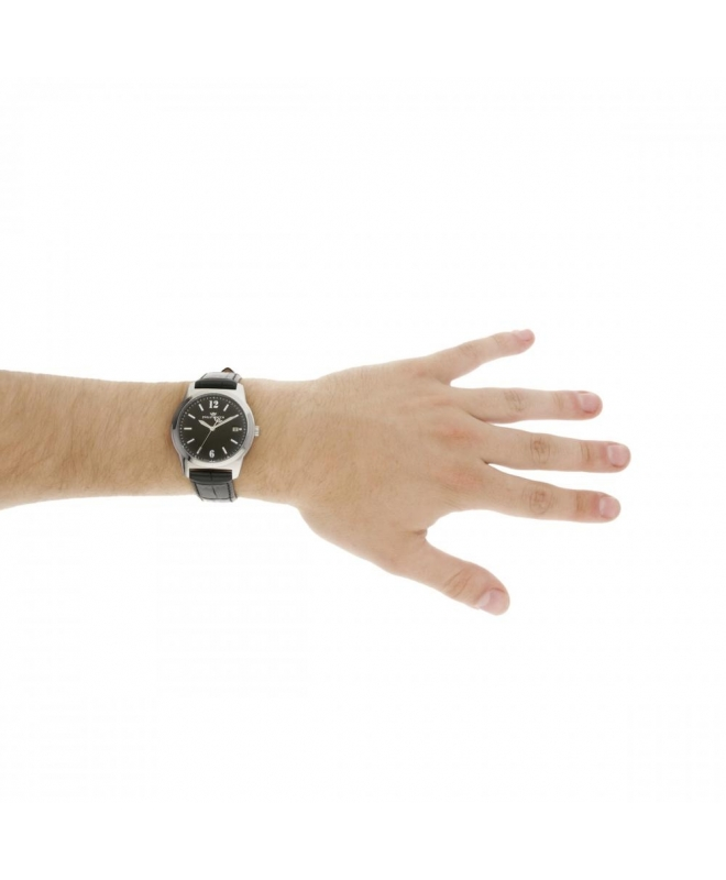 Philip Watch Timeless gent 38mm 3h black dial blk st uomo - galleria 2