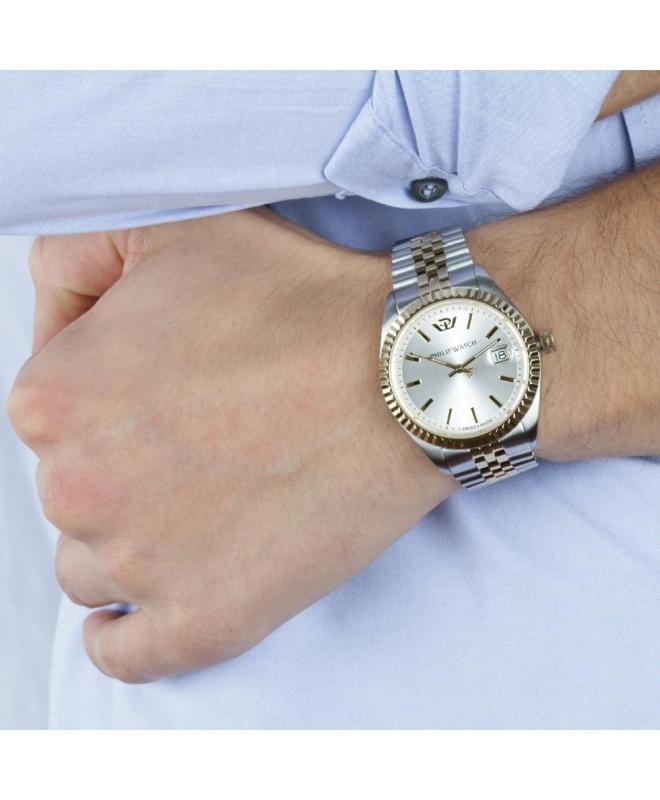 Philip Watch Caribe 3h white silver dial brac uomo R8253107010 - galleria 3