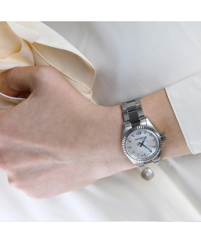 Philip Watch Caribe lady 3h ss white mop dial/br. donna - galleria 3