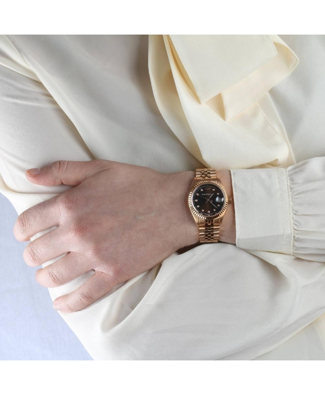 Philip Watch Caribe 31mm 3h brw dial w/diam br rg donna - galleria 3