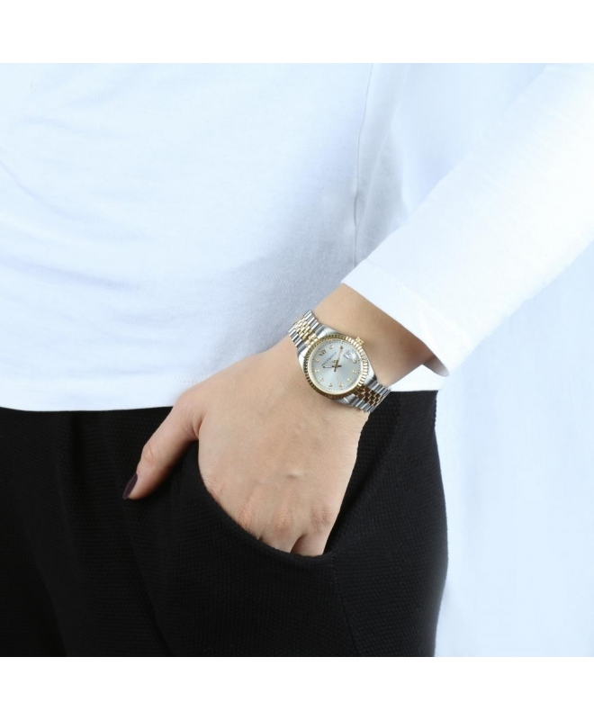 Philip Watch Caribe 35mm 3h silve dial w/dia br yg/ss donna - galleria 3