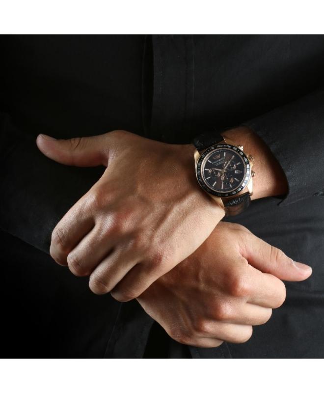 Philip Watch Caribe 42mm chr brown dial black st uomo - galleria 3