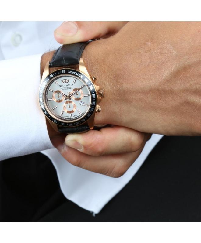 Philip Watch Caribe 42mm chr w/silver dial black st uomo - galleria 3