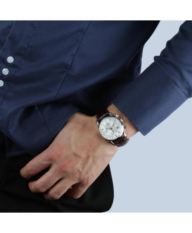 Philip Watch Sunray chr white dial/brown strap uomo R8271908003 - galleria 3