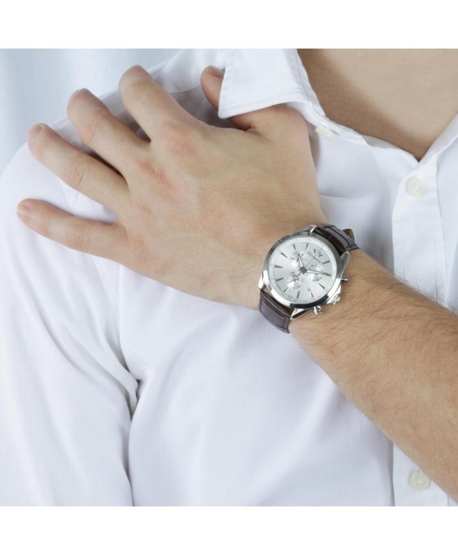 Philip Watch Blaze chr silver white dial/brown strap uomo - galleria 3