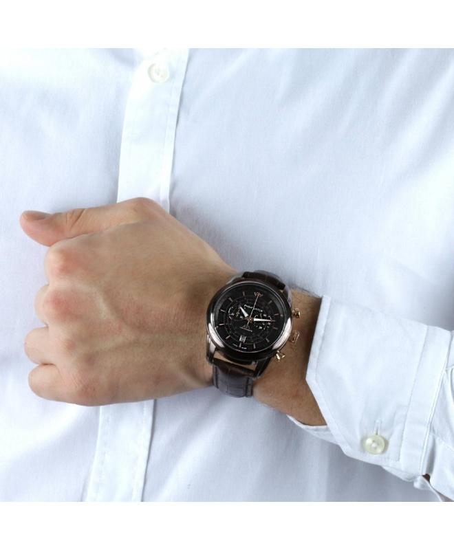 Philip Watch Seahorse chr 44mm brw dial brw str ip uomo - galleria 3