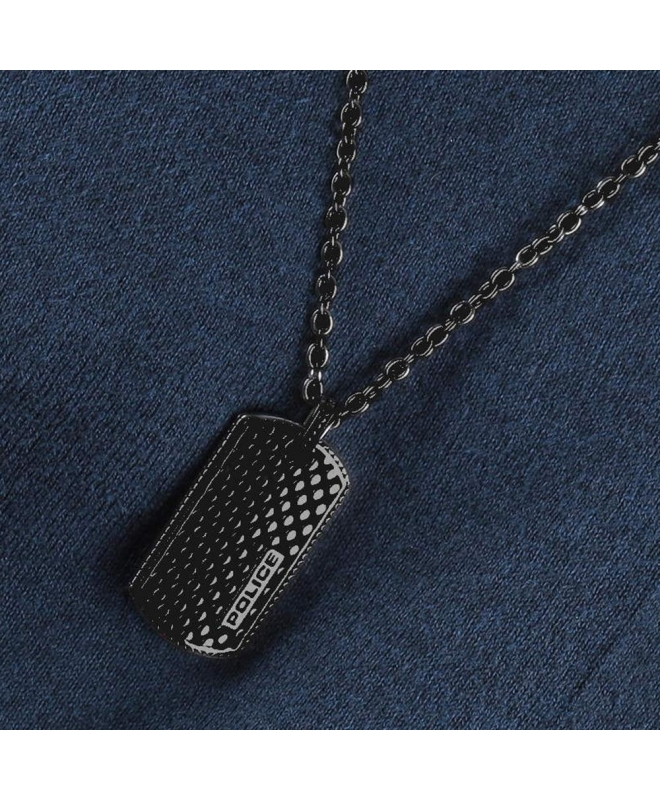 Police Lizard necklace ss+mesh charm 500+200mm - galleria 2