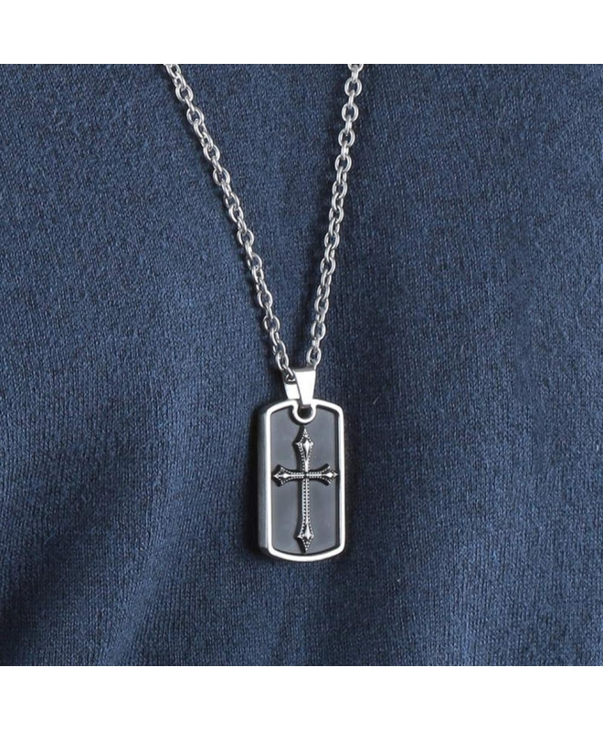 Police Knights cross pend.ss cross ss chain - galleria 2