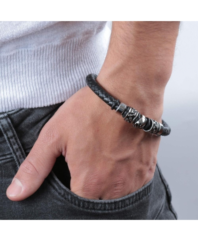 Police Soul br.ss rect.magnetic buckle black st - galleria 2