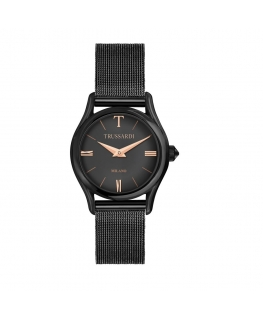 Trussardi T-light 32mm 2h black dial mesh br black