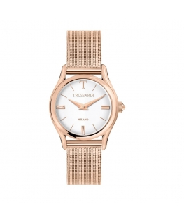 Trussardi T-light 32mm 2h silver dial mesh br rg