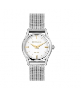 Trussardi T-light 32mm 2h silver dial mesh br ss