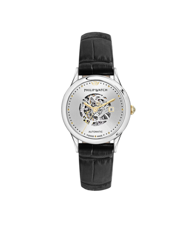 Philip Watch Marilyn auto 31mm 3h silver dial black s - galleria 1
